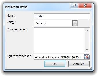Nouveau nom Excel