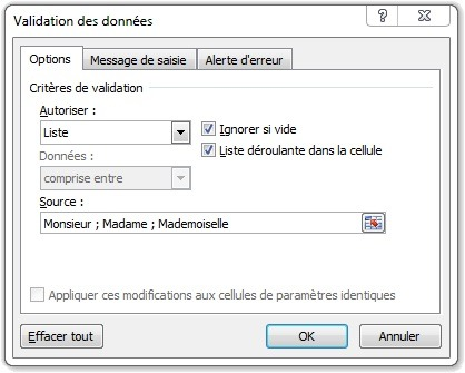 Options Validation des données