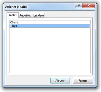 Afficher la table Tarifs Access