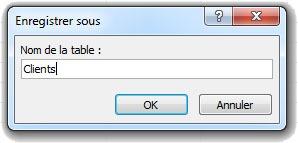 Fenêtre pour enregistrer une table Access