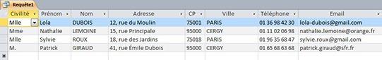 Résultats de la requête clients habitants Paris et Cergy