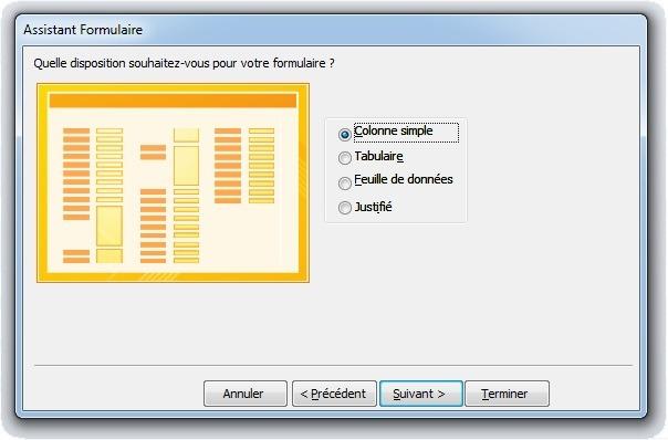 Fenêtre Choix de la disposition d'un formulaire