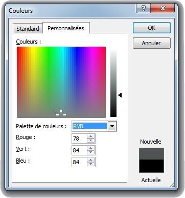 Fenêtre Autres couleurs de contour personnalisées