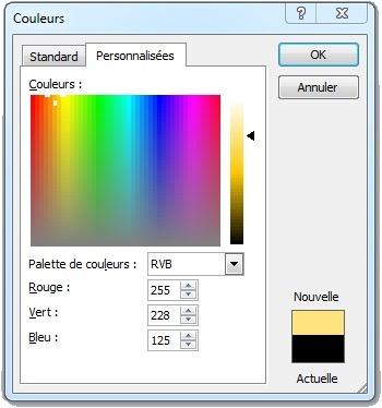Fenêtre Autres couleurs personnalisées