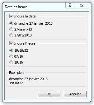 Paramétrage de la date et de l'heure