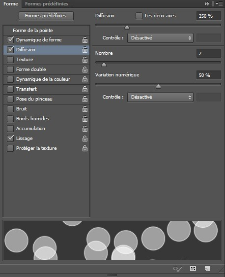 Fenêtre Forme option Diffusion