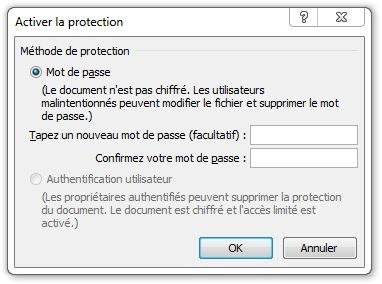 Fenêtre Activer la protection par mot de passe
