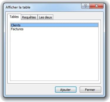 Fenêtre Afficher la table