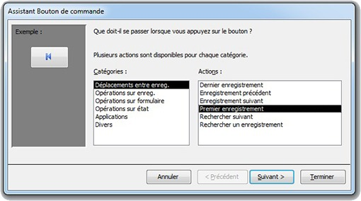 Fenêtre Assistant Bouton de commande pour choisir l'action du bouton