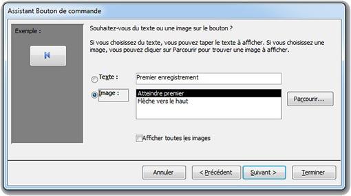 Assistant Bouton de commande pour choisir l'image du bouton