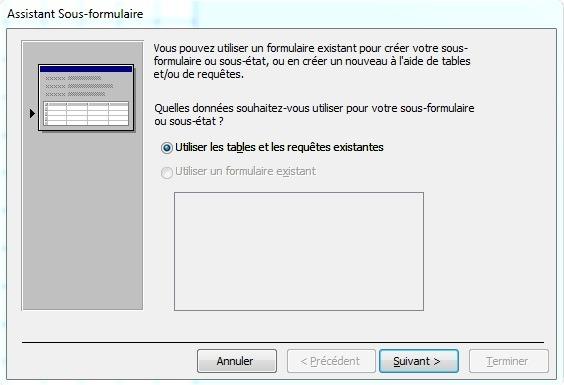 Fenêtre Assistant sous-formulaire pour choisir les données à utiliser