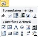 Liste des contrôles de formulaires hérités et contrôles ActiveX