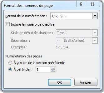Fenêtre Format des numéros de page