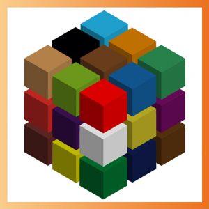 Cube et motif créés sur Illustrator