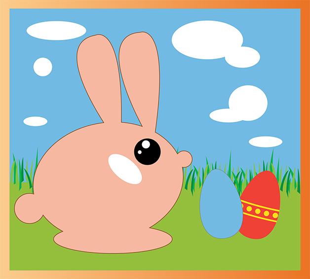 Lapin de Pâques créé sur Illustrator