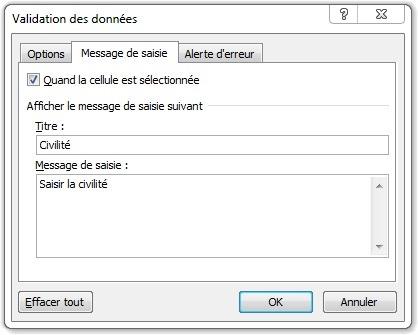 Fenêtre Validation des données onglet Message de saisie