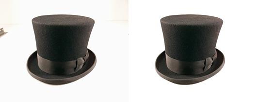 Exemple de détourage d'un chapeau avec la fonctionnalité Plage de couleurs