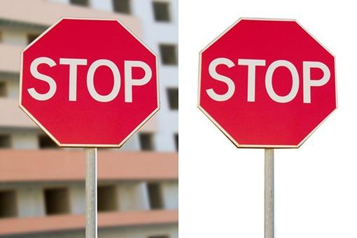 Exemple de détourage d'un panneau stop avec la plume