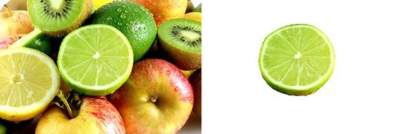 Exemple de détourage d'un citron vert avec le Mode masque