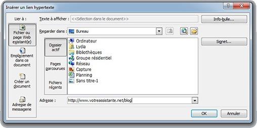Fenêtre Insérer un lien hypertexte
