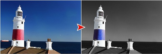 Exemple color splash sur un phare