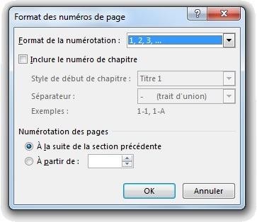 Fenêtre Format des numéros de pages avec numérotation des pages à la suite de la section précédente