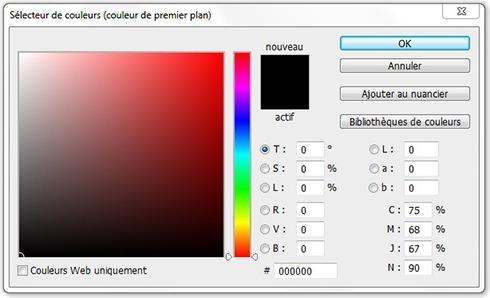 Fenêtre Sélecteur de couleurs (couleur de premier plan)