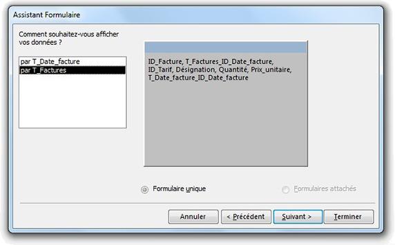 Fenêtre Assistant formulaire pour choisir l'affichage des données