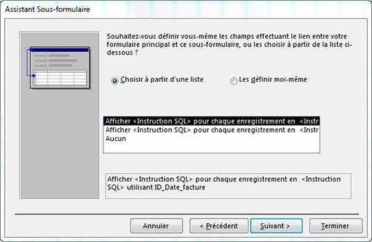 Fenêtre Assistant sous-formulaire pour définir les champs en lien avec la facture