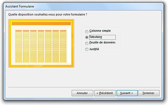 Fenêtre Assistant formulaire pour choisir la disposition