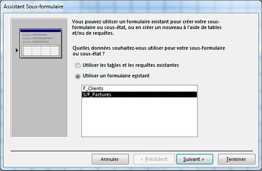 Fenêtre Assistant sous-formulaire pour utiliser un formulaire existant