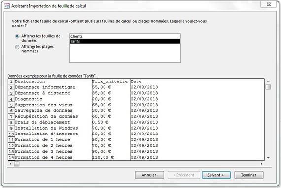 Assistant importation de feuille de calcul pour choisir l'onglet Tarifs