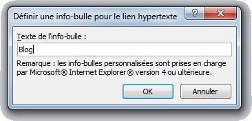 Fenêtre Définir une info-bulle pour le lien hypertexte