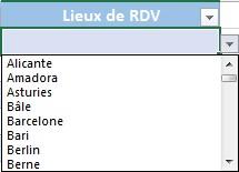 Exemple de liste déroulante Excel