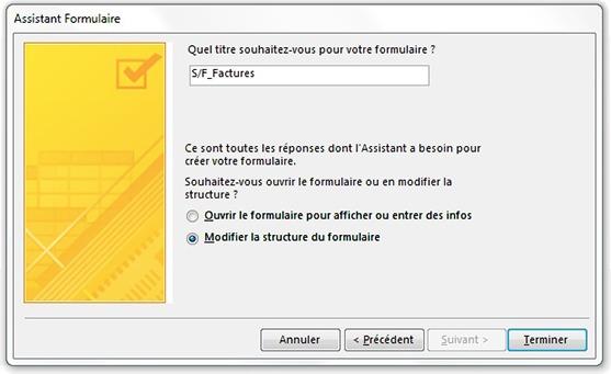 Fenêtre Assistant sous-formulaire pour nommer le sous-formulaire S/F_Factures