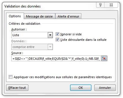 Fenêtre Validation des données pour la formule de liste déroulante semi-automatique