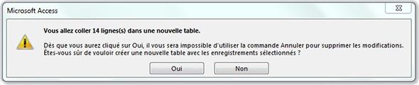 Message Vous allez coller X lignes dans une nouvelle table