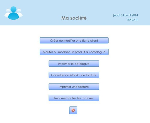 Interface de l'application de gestion des factures avec Access