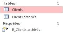 Requête R_Clients archivés