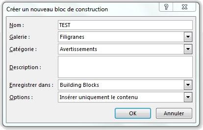 Fenêtre Créer un nouveau bloc de construction