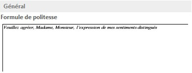 Exemple de formule de politesse QuickPart