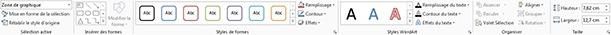 Onglet Format d'un tableau Excel