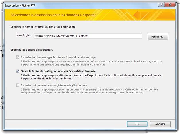 Fenêtre d'exportation RTF depuis Access