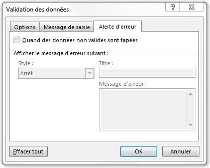 Fenêtre Validation des données à l'onglet Alerte d'erreur