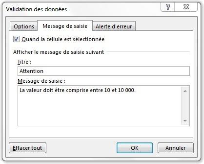 Fenêtre Validation des données à l'onglet Message de saisie