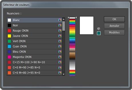 Fenêtre Sélecteur de couleurs dans les nuanciers