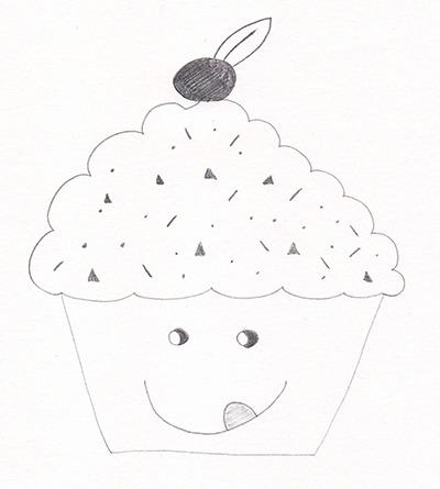Dessin au crayon d'un cupcake gourmand