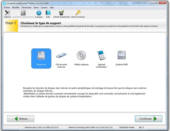 Choix du support pour Ontrack EasyRecovery Home