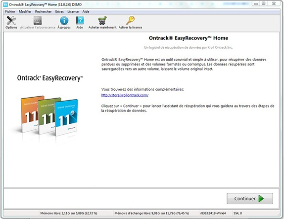 Logiciel Ontrack EasyRecovery Home
