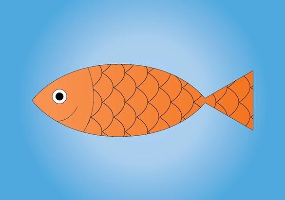 Poisson d'avril sur fond bleu créé sur Illustrator